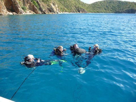 Preparing for Dive at Norman Island Caves